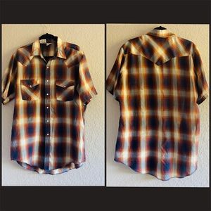 Western Frontier Retro Plaid Pearl Snap Button Up